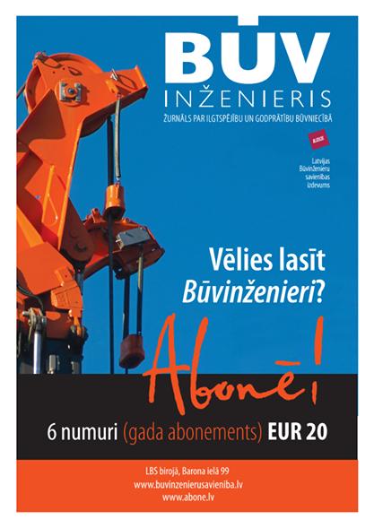 """Abonē žurnālu """"Būvinženieris"""" 2015.gadam!"""